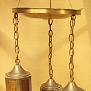 Light Fixture Vintage with 3 Hanging Lanterns 12in across 24in high