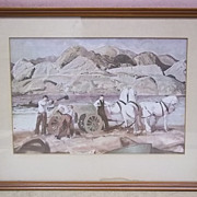 Custom Made Horse Team Print Unsigned 11 3/4in x 7 3/4in  Vintage Paper
