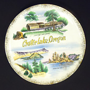 Crater Lake Oregon Vintage Plate Gold Trim 10 1/2in Ceramic Gold