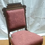 Custom Made Side Chair Red 36in x 20in x 19in Vintage  Wood Fabric