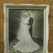 Custom Made Old Wedding Photo with Frame 16in x 13in x 2in Vintage  Glass Wood