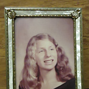 Custom Made Old Photo with Frame 7in x 5in x 1in Vintage 030212-7511 Glass Metal