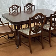 Dining Table 62in x 42in x 30in with 3 Leaves and 6 Chairs Shield Back