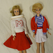 Mattel 85-56a Vintage 1962 Midge and Bubblecut Barbie with Fashion Case Plastic Fabric