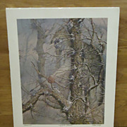 Custom Made  Vintage Michael Gentry Signed Art Print Wolf in the Cottonwood Paper