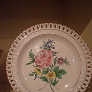 Luneville KG Floral Pattern Plate With Reticulated Edge