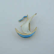 Midcentury Modernist IVAR HOLT Norway VIKING Sterling Silver Enamel BROOCH