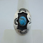 Vintage NAVAJO Sterling Silver Turquoise SHADOW BOX RING, SZ 6, ca 1970's