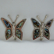 Vintage Mexico TAXCO Sterling Silver Abalone Butterfly EARRINGS, ca 1970's