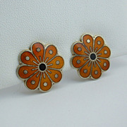 Norwegian DAVID ANDERSEN Modernist Sterling Silver Enamel Abstract Flower EARRINGS, 1960's