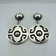 MODERNIST Sterling Silver Overlay Dangle EARRINGS, circa 1970's