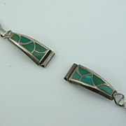 Vintage Women's ZUNI Sterling Silver Turquoise Inlaid WATCH TIPS Band, ca 1960's