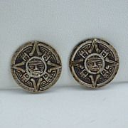 Vintage Taxco, Mexico Aztec Calendar Sterling Silver EARRINGS, ca 1970's