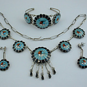 Set: Superb Zuni Burdian SOSEEAH Sterling Silver Tewa Sun Necklace, Bracelet, Earrings