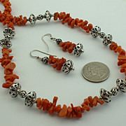 Set - Vintage NAVAJO Sterling Silver and Coral NECKLACE and EARRINGS 1920's