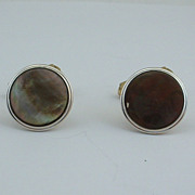 Vintage CUFFLINKS Cuff Links - Black Mother of Pearl Gold Filled