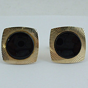Vintage CUFFLINKS Cuff Links - Modernist Onyx Dots Gold Filled