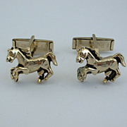 Vintage CUFFLINKS Cuff Links - Horses Gold Toned