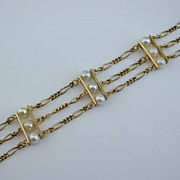 Elegant Vintage 12 CULTURED PEARL Gold Filled Link BRACELET, ca 1970's
