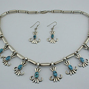 SET Navajo MARTHA JACKSON Sterling Spiderweb Turquoise Necklace & Earrings 1980's