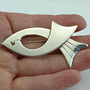 Superb Mexican Modernist Sterling Silver Fish BROOCH