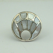 Navajo BENJAMIN BECENTI Mother of Pearl Inlay Ring Sz 8 US