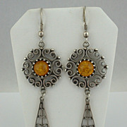 PARSLA KRIKIS Sterling & Baltic Amber Latvian EARRINGS, ca 1990