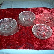 SALE 6-Pc. Set: Heisey Glass Elegant Master Salt Dips  with Underplates