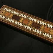 Attractive Antique English 'Tunbridge Ware' Cribbage  Board