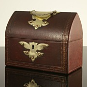 Superb Small Victorian Leather Stationery Box with Original Fittings
