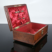 Early Victorian Leather Sewing Box