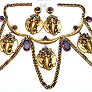 SOLD Joseff of Hollywood Majestic Elephant Necklace and Earrings -