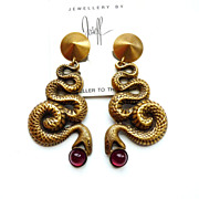 SOLD Joseff of Hollywood Facing Snake Earrings with Red Cabochons
