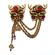 Joseff Hollywood Facing Snake Chatelaine Pin with Red Cabochons