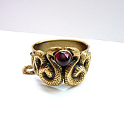 Joseff of Hollywood Facing Snakes Clamper Bracelet with Red Cabochon