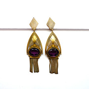 SOLD Joseff of Hollywood Earrings Art Deco with Purple Rhinestones