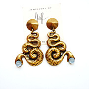 Joseff of Hollywood Facing Snake Earrings with Light Blue Cabochons