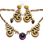 Joseff Facing Snake Necklace Earrings with Purple Cabochons