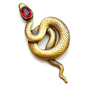 Joseff of Hollywood Coiled Snake Pin with Ruby Red Cabochons
