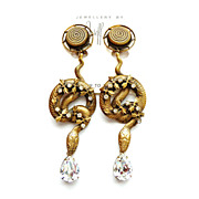 Joseff of Hollywood Coiled Snake Earrings with Clear Crystals