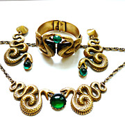 Joseff Facing Snake Necklace Earrings Bracelet Emerald Green Cabochons