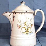 SOLD Antique French Small Coffee Pot w/Hand Painted Flowers