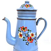 SOLD Vintage 1920's  French Hand-Painted Enamel Biggins Cafetiere