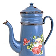 Antique French Enamelware Biggins Coffeepot with Roses and Sailboat Scene