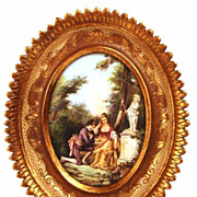 Oval Framed French Hand Painted Scene Galante (on canvas) after Watteau