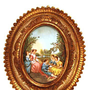 Oval Framed French Hand Painted Scene Galante (on canvas) after Boucher