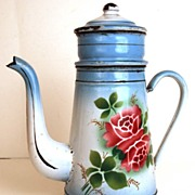 SOLD Vintage French Enamel Biggins Cafetiere