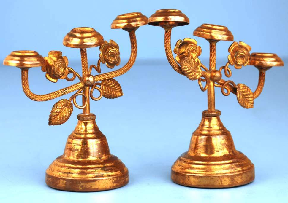 Pair of French Antique Miniature Brass Candelabra