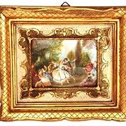 Vintage Framed French Painting on Ivory