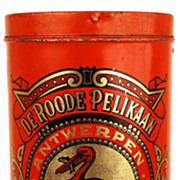 "SOLD Antique French/Dutch Red Coffee Tin ""Le Pelican Rouge"""